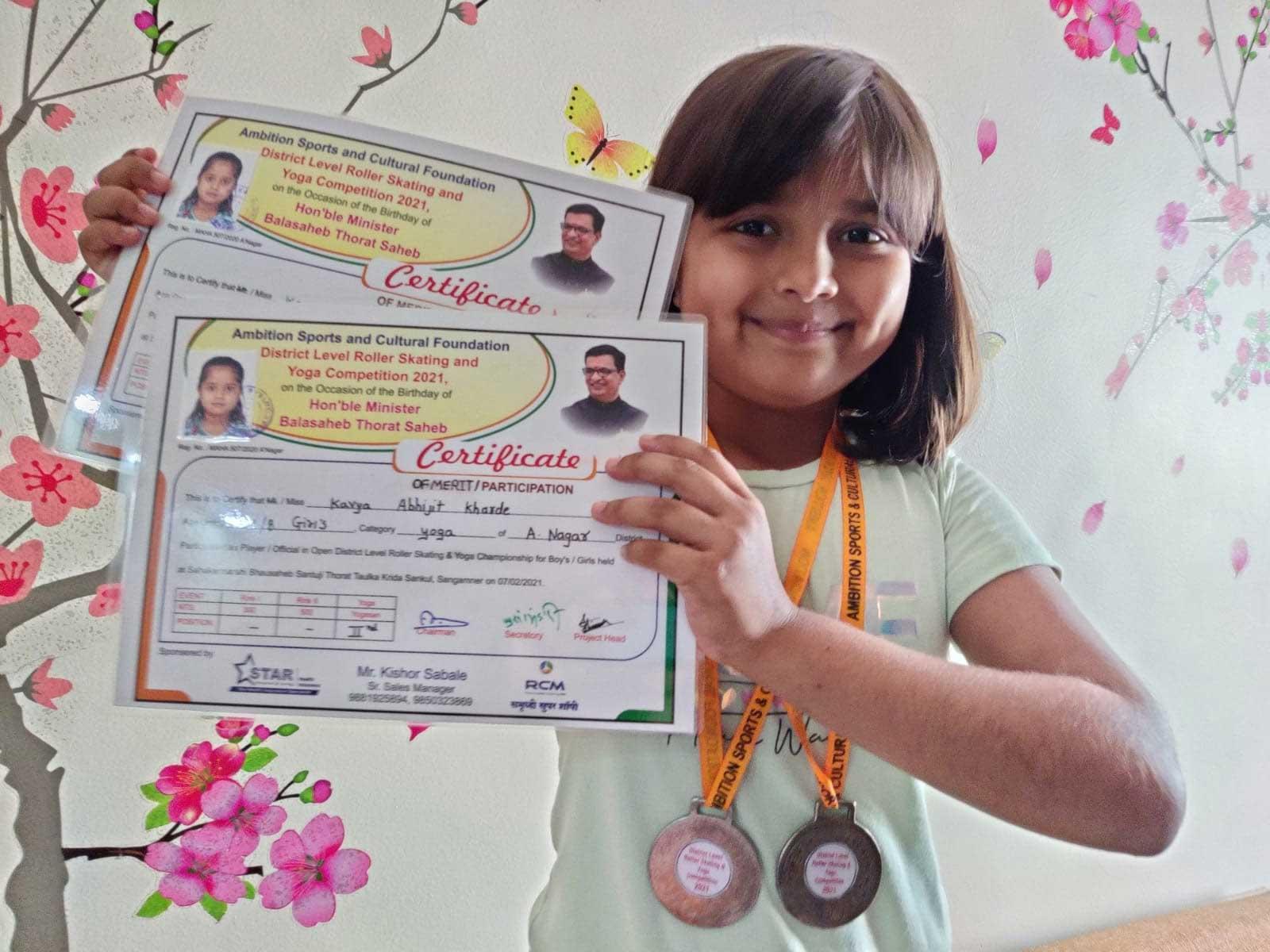 miss-kavya-kharde-got-silver-medal-in-district-level-matches-held-at-sangamner
